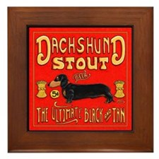 Dachshund Stout Framed Tile