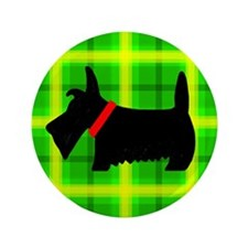 "Green Plaid Scottie 3.5"" Button (100 pack)"