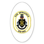 USS Spruance DD-963 Navy Ship Oval Sticker (10 pk)