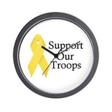 Yellow Ribbon Support Wall Clock