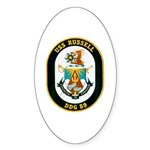 USS Russell DDG-59 Navy Ship Oval Sticker (50 pk)