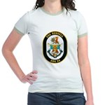 USS Russell DDG-59 Navy Ship Jr. Ringer T-Shirt
