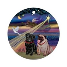 Christmas Star & 2 Pugs Ornament (Round)