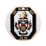 USS Mobile Bay CG-53 Navy Ship Ornament (Round)