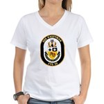 USS Kauffman FFG-59 Navy Ship Women's V-Neck T-Shi