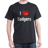 I Love Badgers (Front) Black T-Shirt