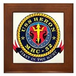 USS Heron MHC-52 Navy Ship Framed Tile