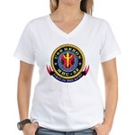 USS Heron MHC-52 Navy Ship Women's V-Neck T-Shirt