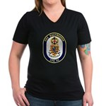 USS Halyburton FFG-40 Navy Ship Women's V-Neck Dar