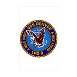USS Denver LPD-9 Navy Ship Rectangle Sticker 50 p