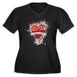 Heart Samurai Women's Plus Size V-Neck Dark T-Shir