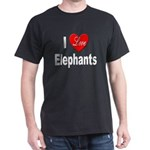 I Love Elephants (Front) Black T-Shirt