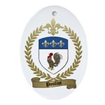 POULIOT Family Crest Oval Ornament