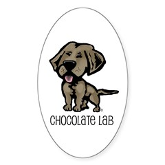 Chocolate Lab Oval Sticker