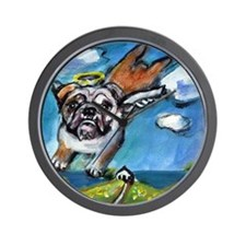 English Bulldog angel flys fr Wall Clock
