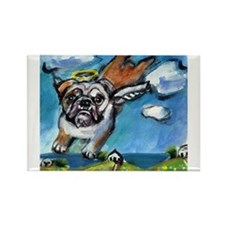 English Bulldog angel flys fr Rectangle Magnet (10
