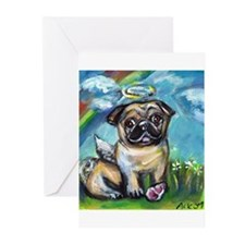 Pug angel dog with pink kon Greeting Cards (Pk of