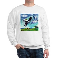 Black cat angel flys free Sweatshirt