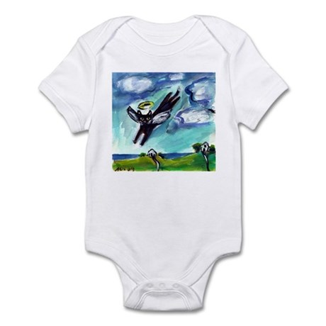 Black cat angel flys free Infant Bodysuit