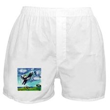 Black cat angel flys free Boxer Shorts