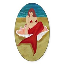 Mermaid In A Shell Oval Sticker (10 pk)