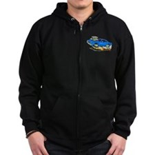 1970 Roadrunner Blue Car Zip Hoodie