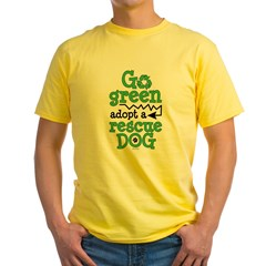 Go Green Adopt a Rescue Dog Yellow T-Shirt