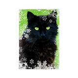 Black Cat &amp; Snowflakes Rectangle Magnet