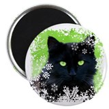 Black Cat &amp; Snowflakes Magnet