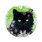 Black Cat &amp; Snowflakes Ornament (Round)