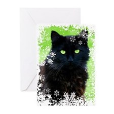 Black Cat & Snowflakes Greeting Cards (Pk of 10)