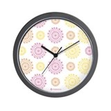 Flower Doilies Wall Clock Black Frame