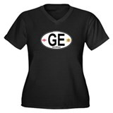 Georgia Euro Oval Women's Plus Size V-Neck Dark T-
