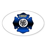 Fire Chief Gold Maltese Cross Sticker (Oval 10 pk)