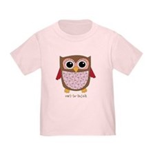 Retro Owl in pink T