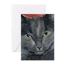 Russian Blue Cat Greeting Cards (Pk of 20)