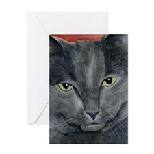 Russian Blue Cat Greeting Card