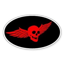Red Flying Skull Decal