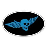 Blue Flying Skull  Aufkleber