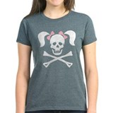 Girl Skull With Pink Bow Tee
