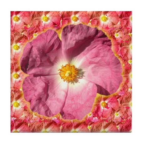 Pink Flower Tile Coaster