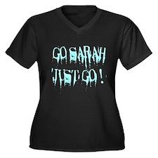 Go Sarah Go Women's Plus Size V-Neck Dark T-Shirt