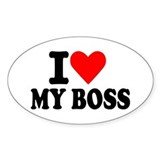 I love my boss Oval Sticker (10 pk)