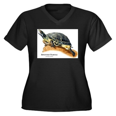 Spotted Turtle Women's Plus Size V-Neck Dark T-Shi