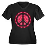 Flower Power Women's Plus Size V-Neck Dark T-Shirt