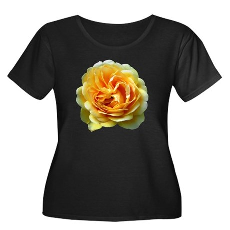 Yellow Rose Women's Plus Size Scoop Neck Dark T-Sh