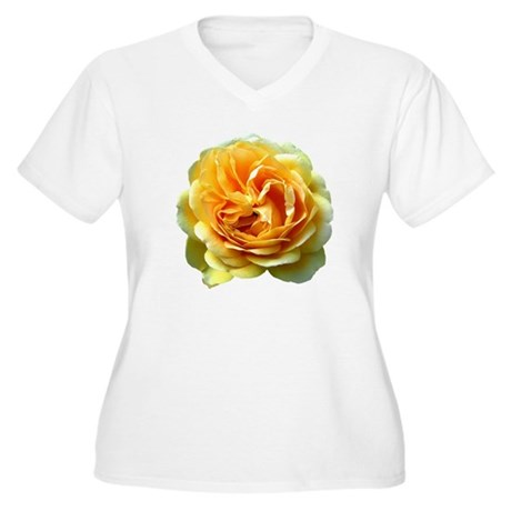 Yellow Rose Women's Plus Size V-Neck T-Shirt