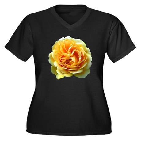 Yellow Rose Women's Plus Size V-Neck Dark T-Shirt