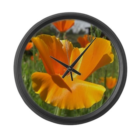 Falling Poppy Large Wall Clock