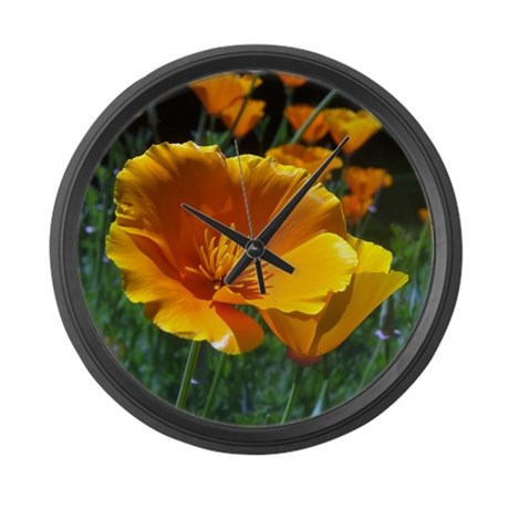 Hello Poppies Large Wall Clock